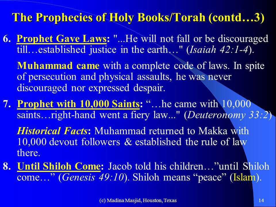 The Prophecies of Holy Books/Torah (contd…3)