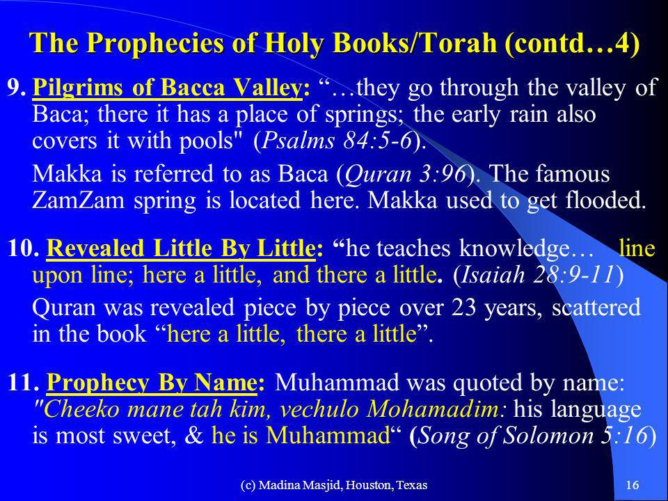 The Prophecies of Holy Books/Torah (contd…4)