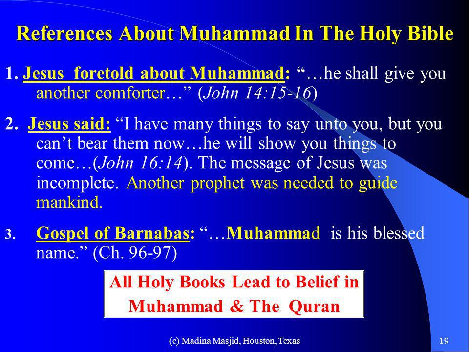References About Muhammad In The Holy Bible