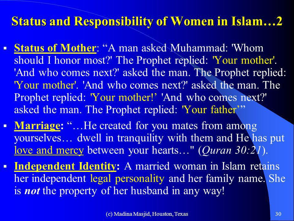 Status and Responsibility of Women in Islam…2