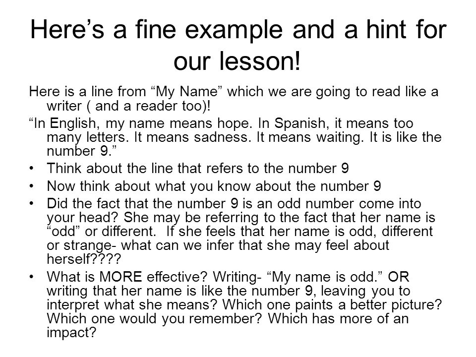 Here's a fine example and a hint for our lesson!