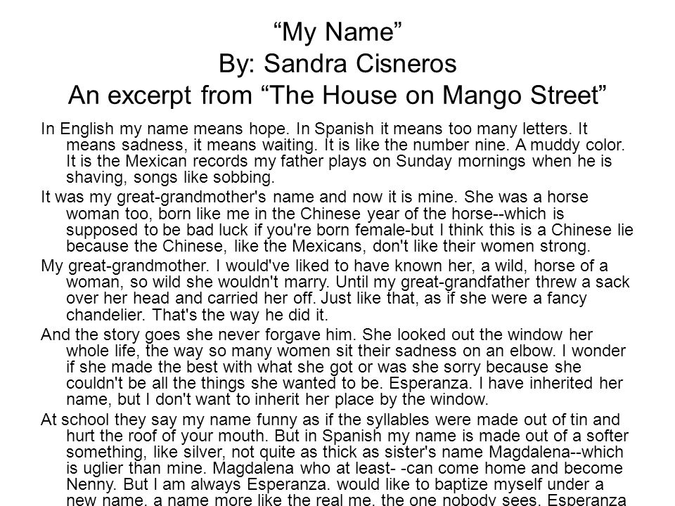 My Name By: Sandra Cisneros An excerpt from The House on Mango Street