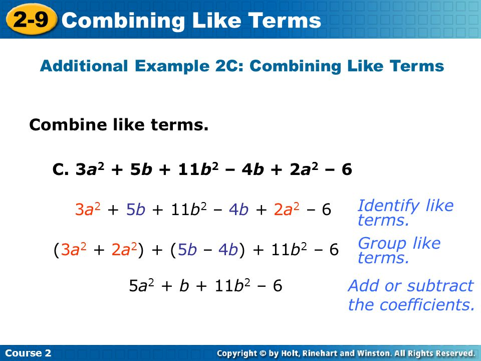 Additional Example 2C: Combining Like Terms