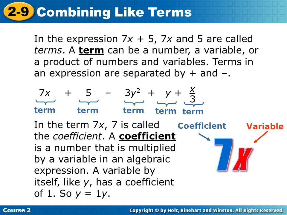 7 x 2-9 Combining Like Terms