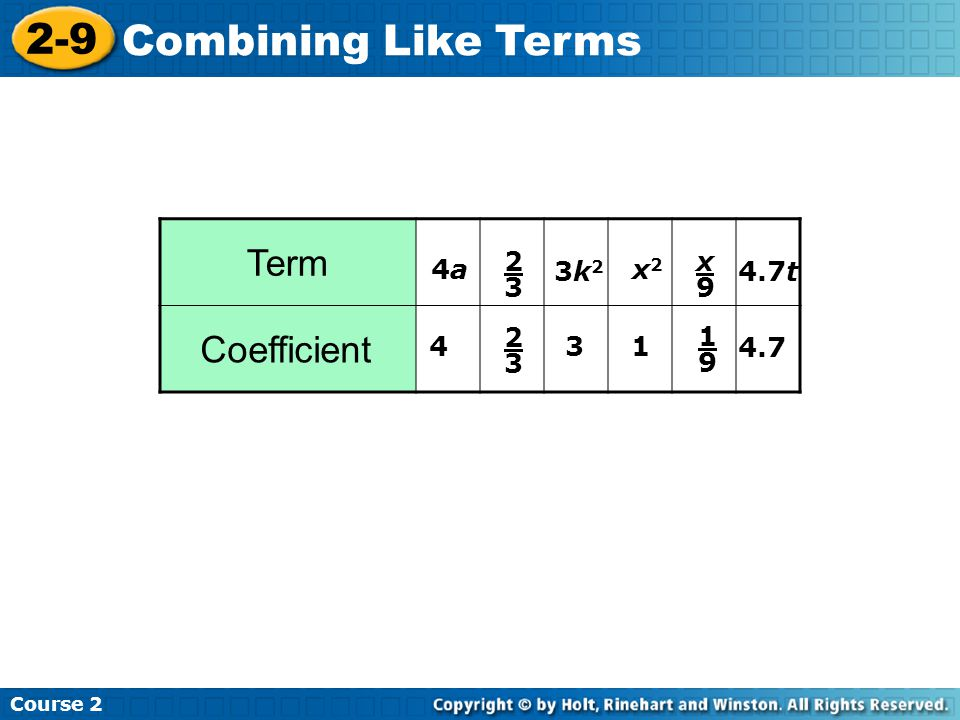 2-9 Combining Like Terms Term Coefficient 2 3 x 9 4a 3k2 x2 4.7t 2 3 1