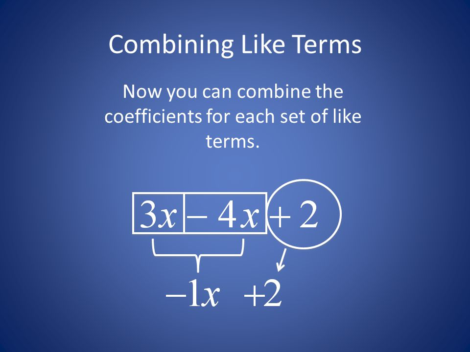 Now you can combine the coefficients for each set of like terms.