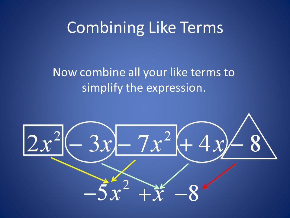 Now combine all your like terms to simplify the expression.