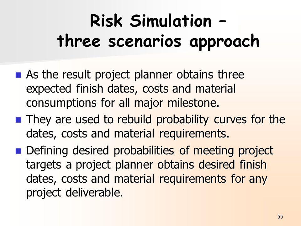 Risk Simulation – three scenarios approach