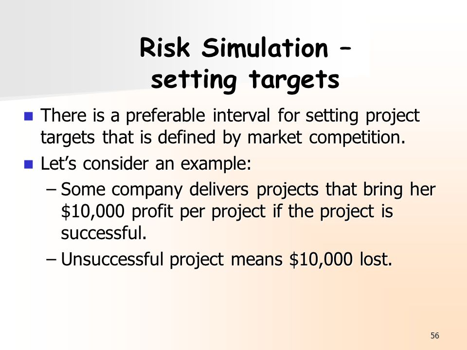 Risk Simulation – setting targets