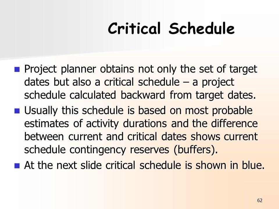 Critical Schedule