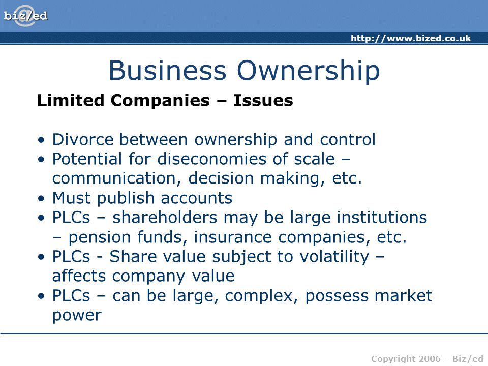 Business Ownership Limited Companies – Issues