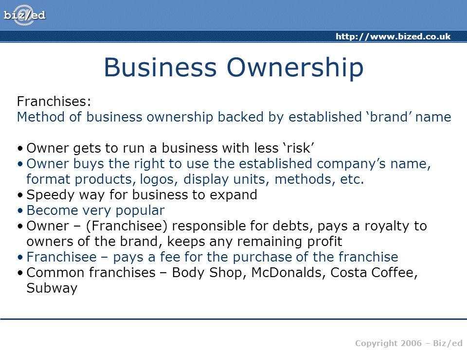 Business Ownership Franchises: