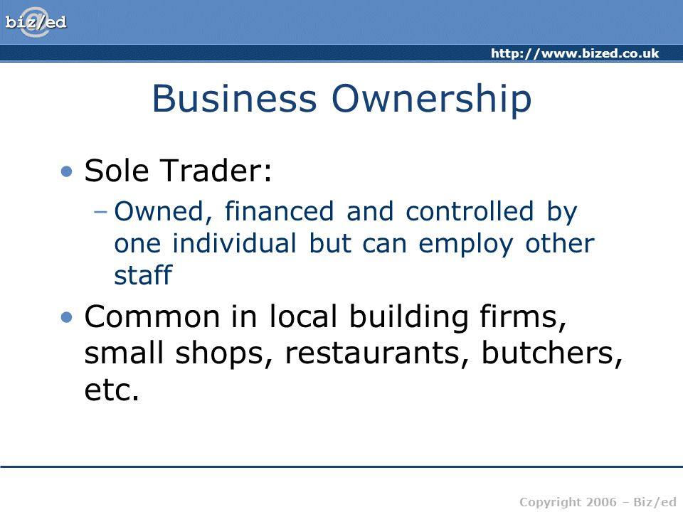 Business Ownership Sole Trader: