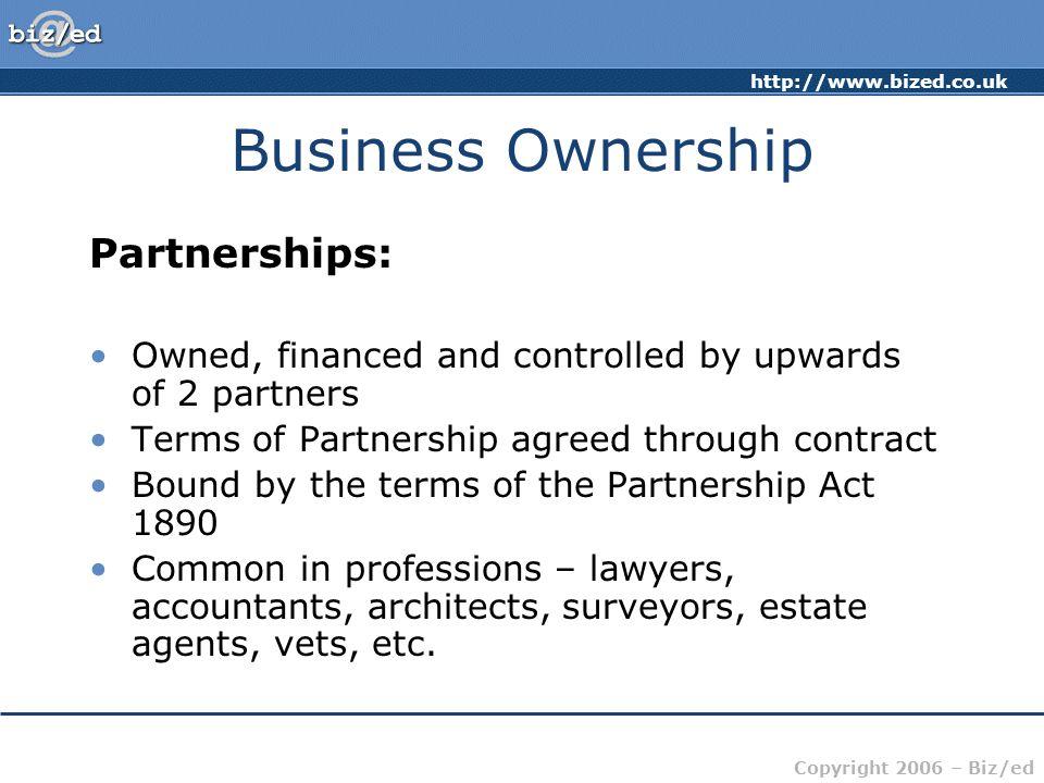 Business Ownership Partnerships: