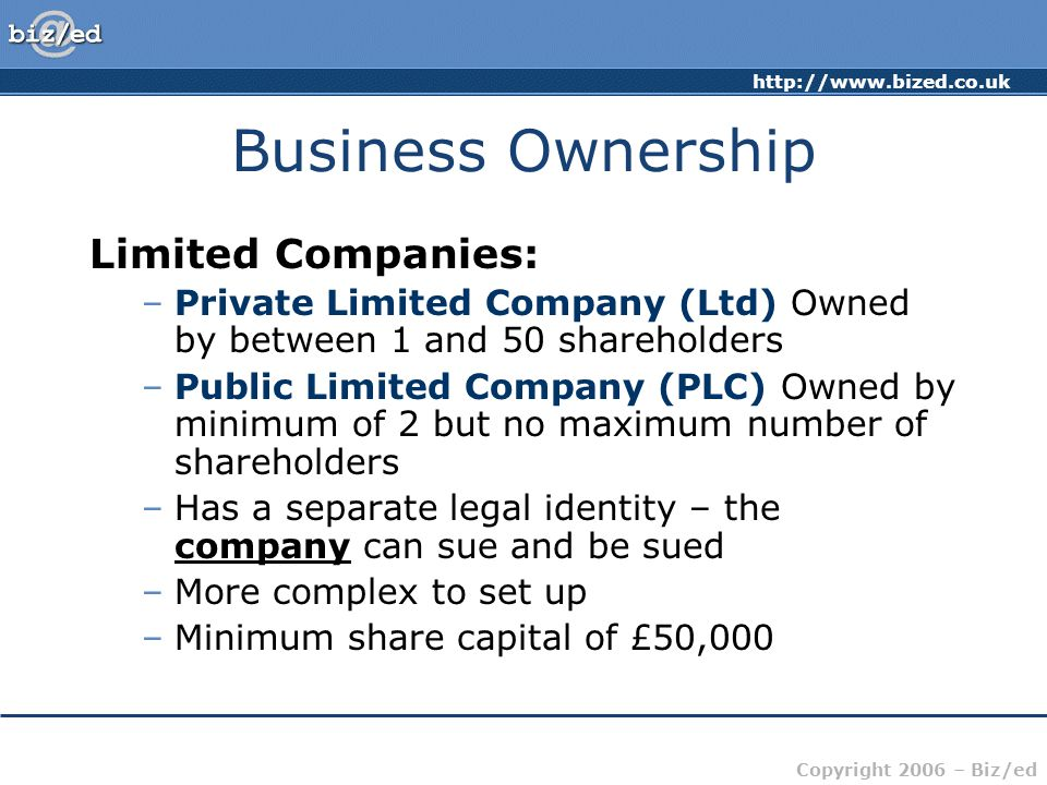 Business Ownership Limited Companies: