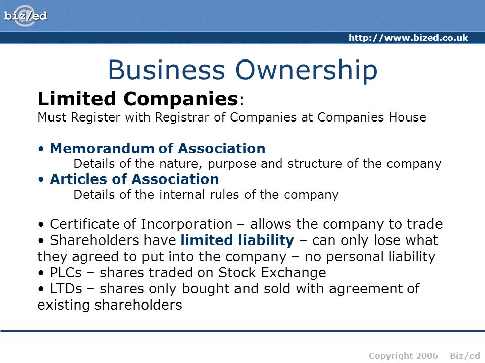 Business Ownership Limited Companies: Memorandum of Association