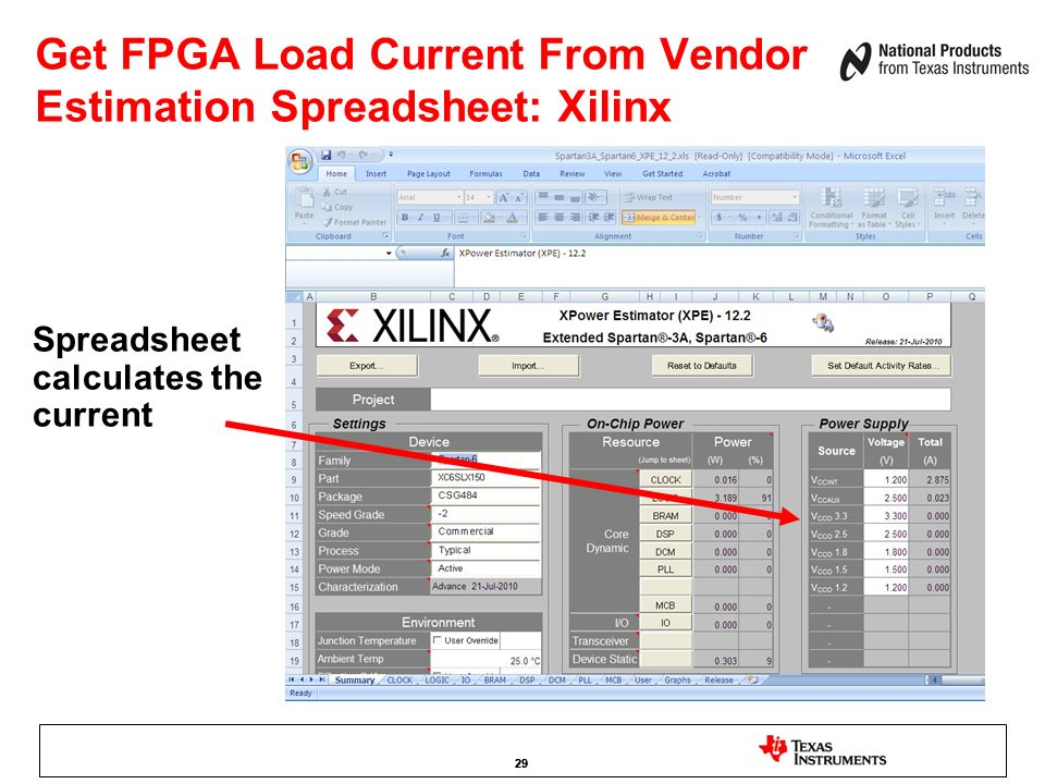 Get FPGA Load Current From Vendor Estimation Spreadsheet: Xilinx