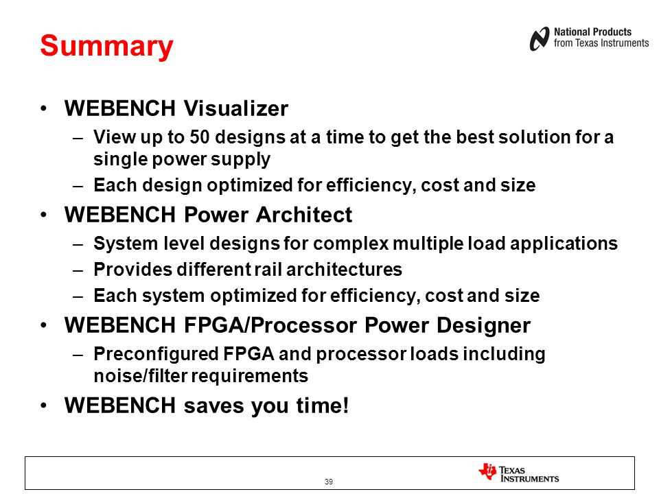 Summary WEBENCH Visualizer WEBENCH Power Architect