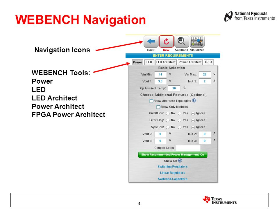 WEBENCH Navigation Navigation Icons WEBENCH Tools: Power LED