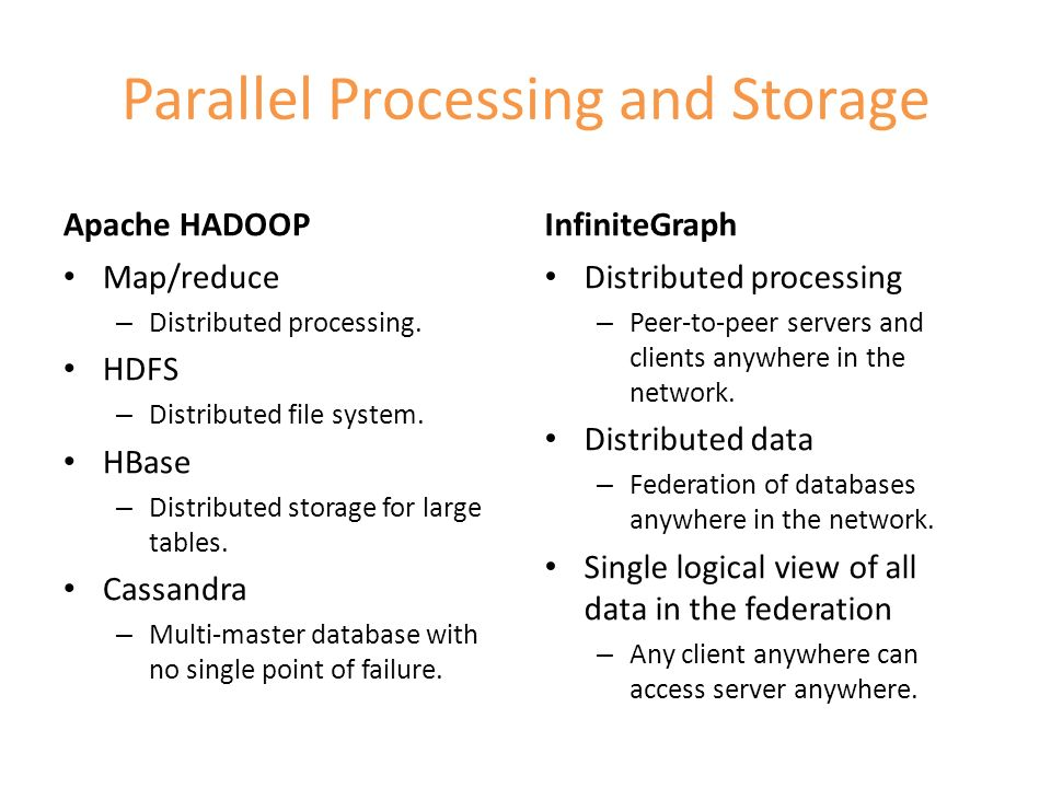 Parallel Processing and Storage