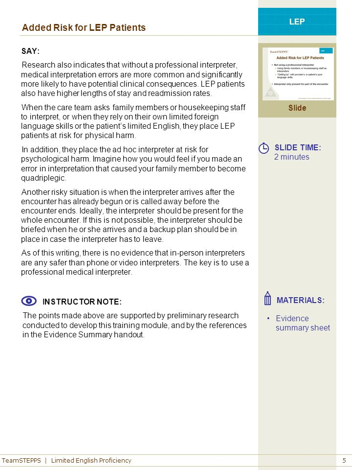 LEP Patients in Your Clinical Area