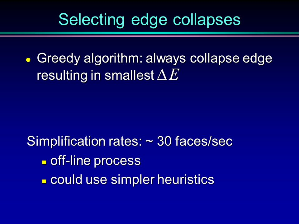 Selecting edge collapses