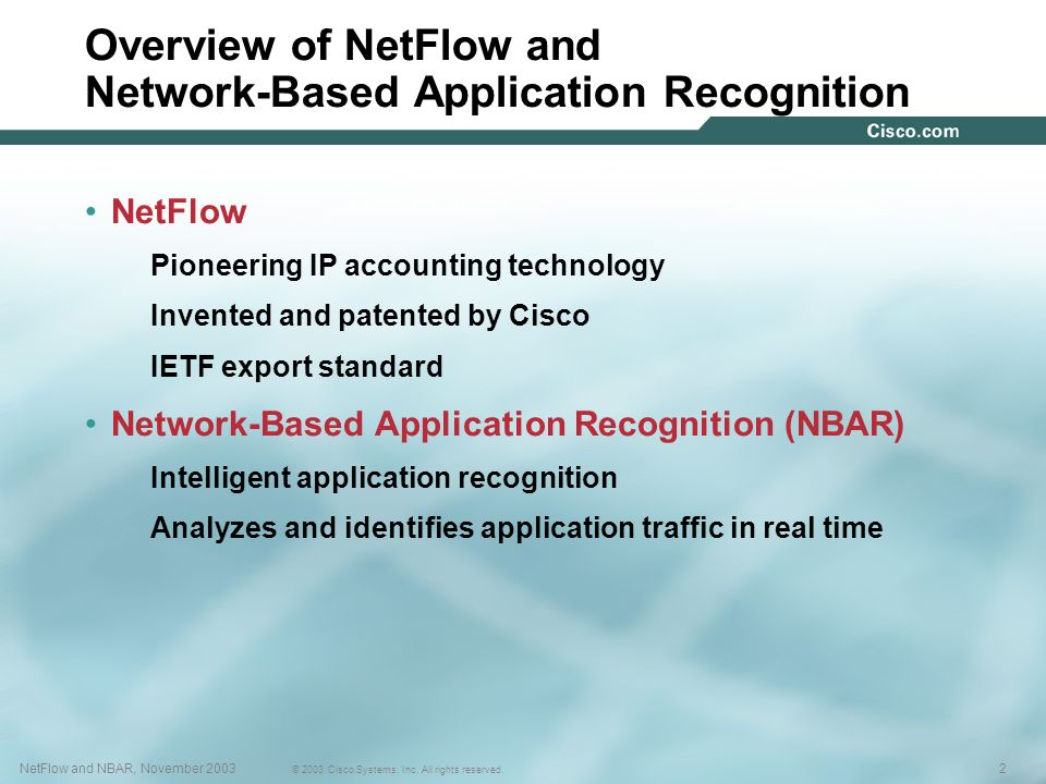 Overview of NetFlow and Network-Based Application Recognition