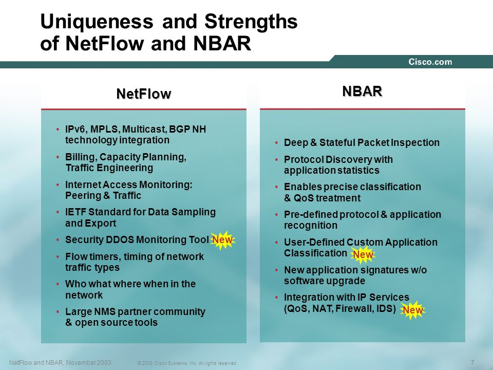Uniqueness and Strengths of NetFlow and NBAR