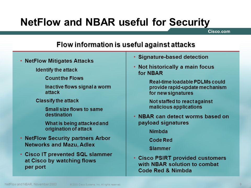 NetFlow and NBAR useful for Security