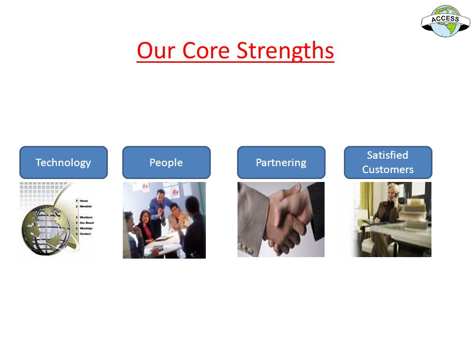 Our Core Strengths Technology People Partnering Satisfied Customers