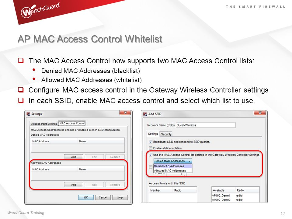 AP MAC Access Control Whitelist