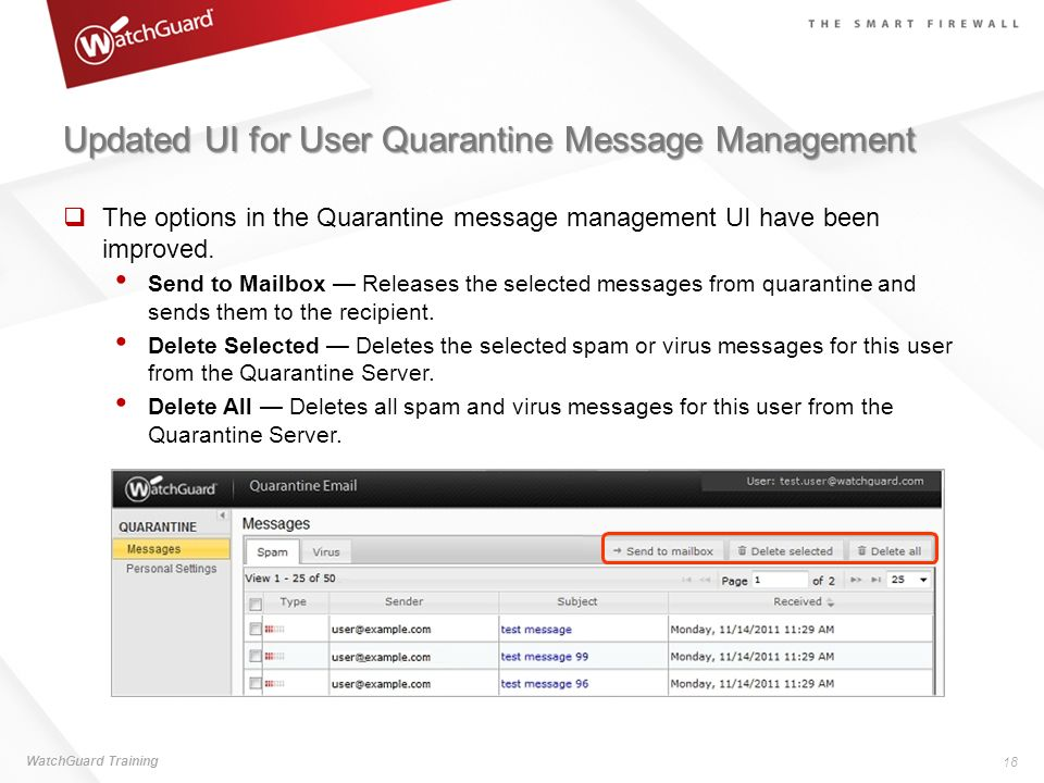 Updated UI for User Quarantine Message Management