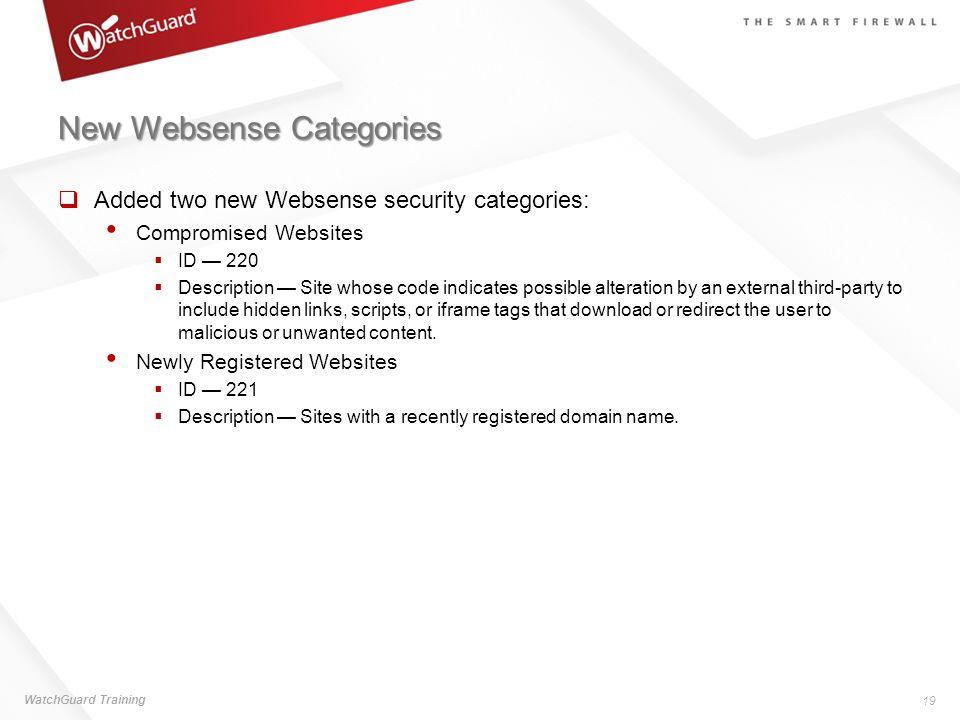 New Websense Categories