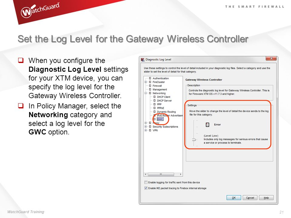 Set the Log Level for the Gateway Wireless Controller