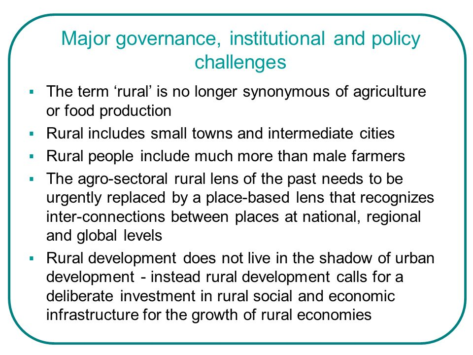 Major governance, institutional and policy challenges