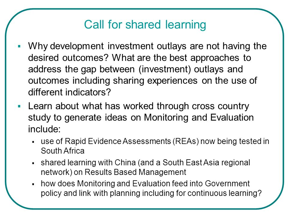 Call for shared learning
