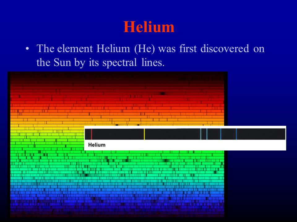 Helium The element Helium (He) was first discovered on the Sun by its spectral lines.
