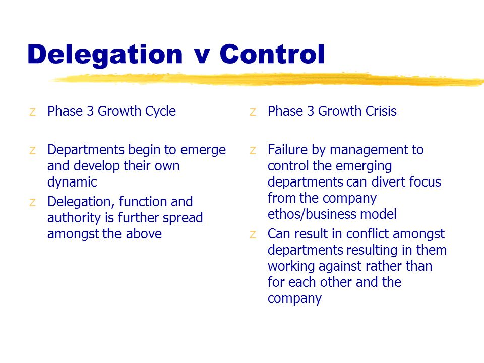 Delegation v Control Phase 3 Growth Cycle