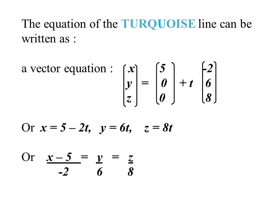 The equation of the TURQUOISE line can be