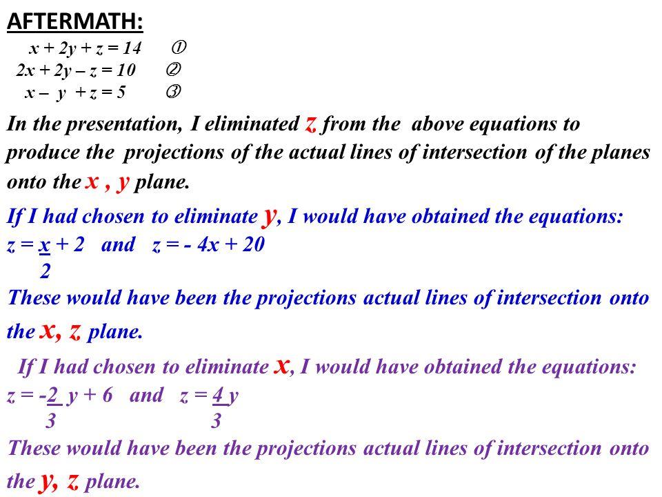 AFTERMATH: x + 2y + z = 14  2x + 2y – z = 10  x – y + z = 5 