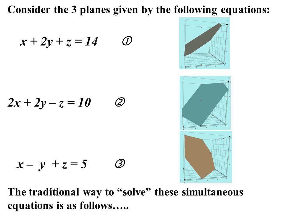 x + 2y + z = 14  2x + 2y – z = 10  x – y + z = 5 
