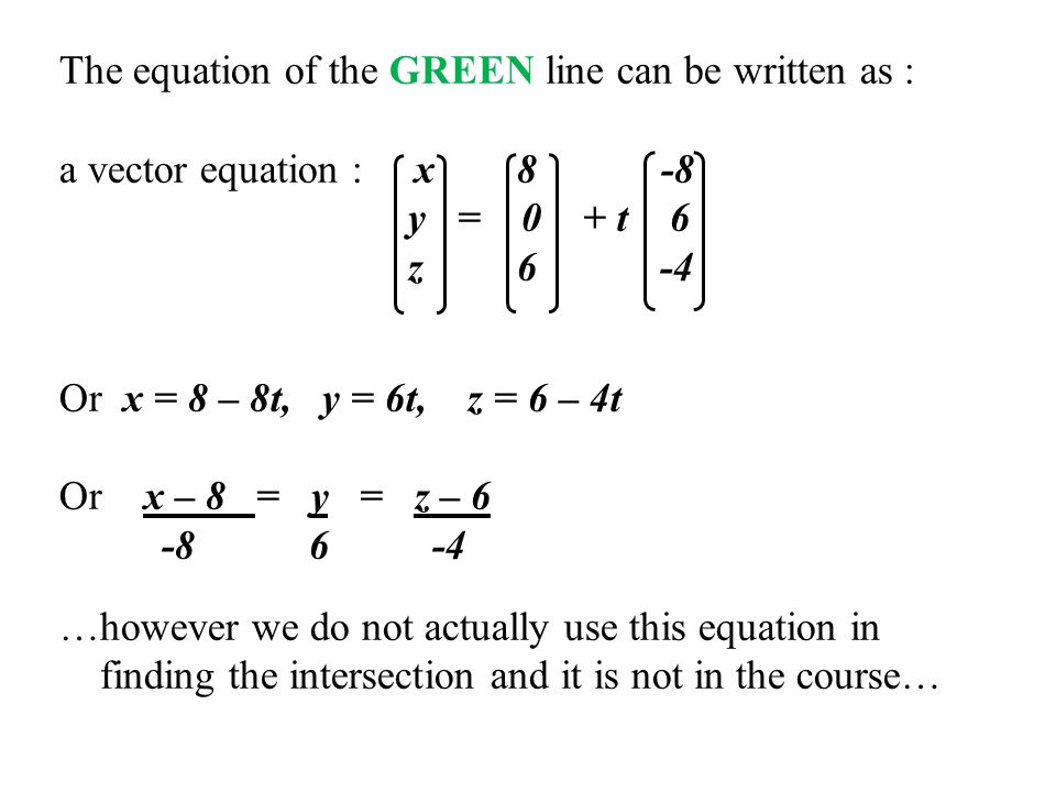 The equation of the GREEN line can be written as :