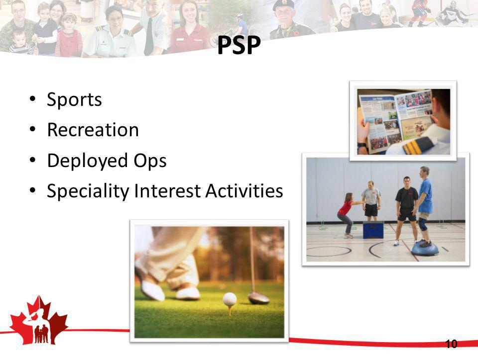 PSP Sports Recreation Deployed Ops Speciality Interest Activities