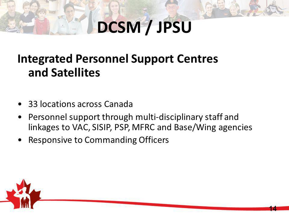 DCSM / JPSU Integrated Personnel Support Centres and Satellites