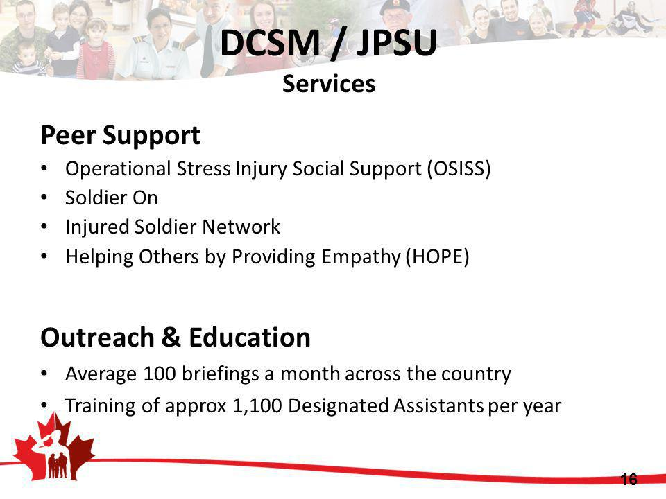 DCSM / JPSU Services Peer Support Outreach & Education