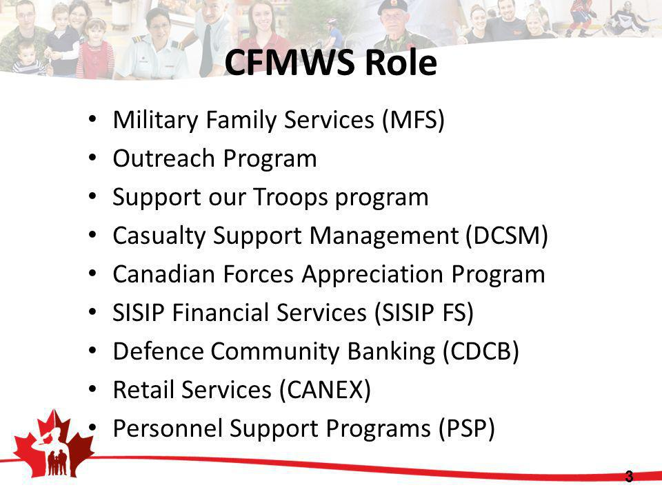 CFMWS Role Military Family Services (MFS) Outreach Program