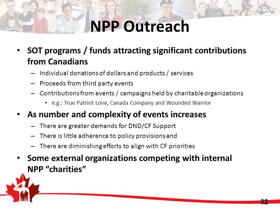 NPP Outreach SOT programs / funds attracting significant contributions from Canadians. Individual donations of dollars and products / services.