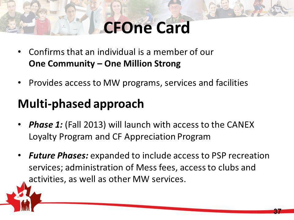 CFOne Card Multi-phased approach