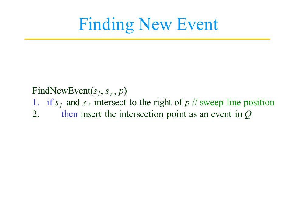 Finding New Event FindNewEvent(s , s , p)