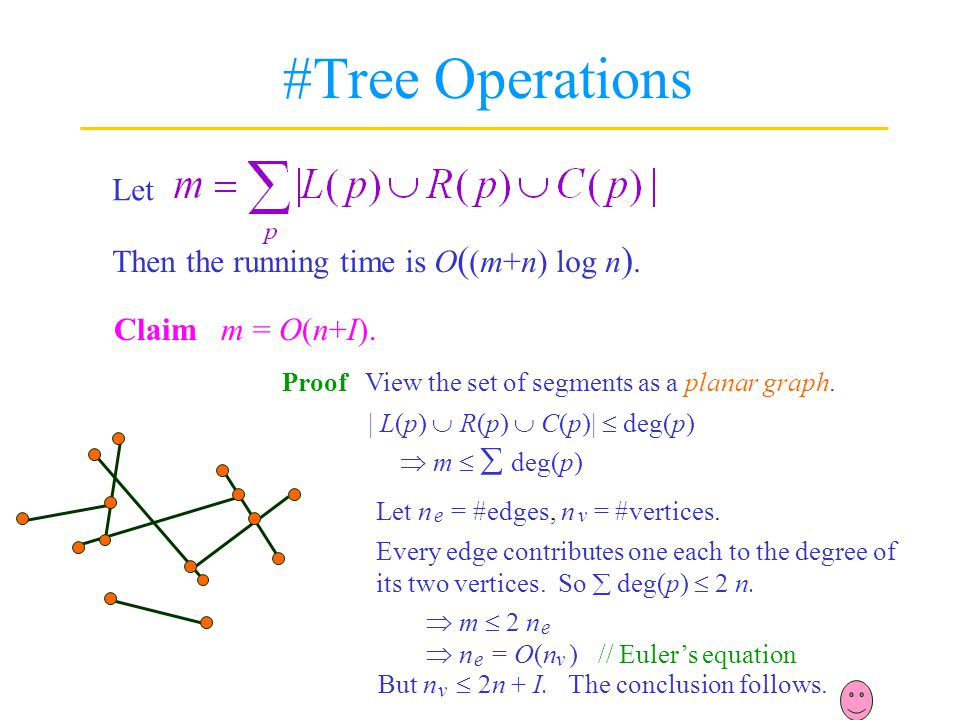 #Tree Operations Let Then the running time is O((m+n) log n).